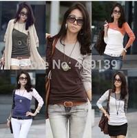 New 2014 Women's T Shirt Splice Casual O- Neck Long Sleeve T-Shirt Fashion High Quality Factory price