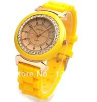200pcs/lot Fashion ladies women students rhinestone Geneva Silicone Wrist watch Free shipping