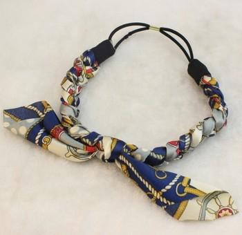 Wholesale and Retail fashion bohemian fabric braid flower with rabbit ears elastic hairband headband hair accessories
