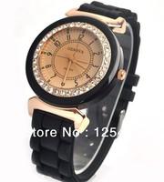 100pcs/lot 2013 Jelly Gel diamond Men Lady candy Silicone geneva Quartz Watches free shipping