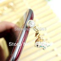 Min.order is $10 Cute Bling Doggie 3.5mm  diamante Universal Size Anti Dust dustproof Earphone Jack Plug