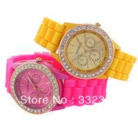 Fashion Diamonds wristWatch Designer Ladies sports brand silicone watch jelly watch quartz watch for women men Free Shipping