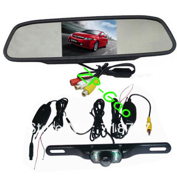 "4.3"" Car TFT LCD Mirror Monitor + Wireless Reverse Car IR Rear View Backup Camera Kit 5pcs/lot"