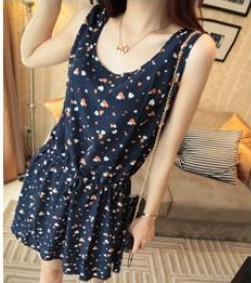 New 2014 Fashion Chiffon Summer Dresses For Women/Brand Cartoon Printed Women Dresses/Casual Women Clothing