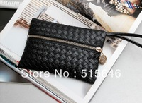 Free shipping 2013 Fashion Ladies' Wallet Women's Zipper PU Leather Purse Woven Pattern Clutch Wallet Hot Sell