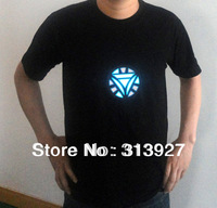 Free Shipping,Iron Man 2,Tony Stark Light up LED Iron Man Shirt,LED Light T Shirt Shirts Flashing EL Equalizer T-Shirt Plus Size