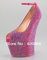 Free Shipping, European Fashion Peep Toe Pink Crystal Platform Boots for Women Wedge High Heel Wedding Party Shoes