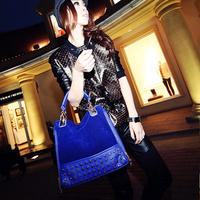 2013 new female bag rivet package stitching flannel bag shoulder bag fashion handbag Rivet Studded handbag100-8