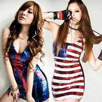 Free Shipping spaghetti strap stripe flag dress women, american flag slim paillette dress party evening elegant luxury  LM8691