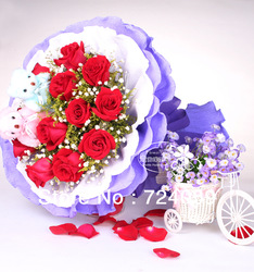 Flowers Wedding Beijing Su Hangzhou city flower delivery florist flower delivery Flower bouquet of 11 red roses love birthday(China (Mainland))