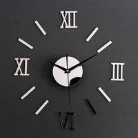 modern design home decor!3D DIY mirror wall clock living room,interior novelty households,safe wall watch,unique gift F4