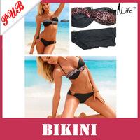 Fashion Womens Sexy Black Halter Bikinis Set Sequin Padded Swim wear Swimsuit 300pcs Free Shipping