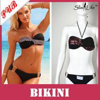 Sexy Black Twist Bandeau Top Beach Push Up Sequins Bikini Padded Swim wear For Women Swimsuit 200pcs Free Shipping