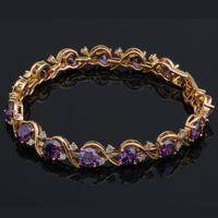 Free shipping Purple Crystal & AAA Zircon Amethyst 18K k Gold Plated Bracelets Health Nickel & Lead free Fashion jewelry TB066