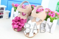 Newest  2013 Summer Leather Girls Sandals Summer princess shoes for girls Sweet Flower Toe Cap Covering 13.3-18.8CM