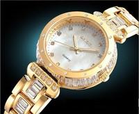 WeiQin New Luxury Rhinestone Shell Dial Women Watch Lady Quartz Wristwatch Fashion Crystal Watches Diamond Watch 2014 WWL0050