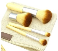 New Fashion Bamboo 4pcs Makeup Brushes Foundation Powder Eye Shadow Blush Brush Brand Cosmetic Makeup Tool Set Free Shipping