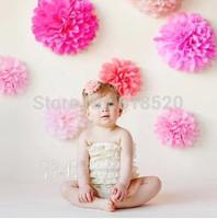 Free Shipping 20Pcs Tissue Paper Pom Poms Flower Ball Lanterns Decor Craft Nursery Vintage Baby Shower Decorations
