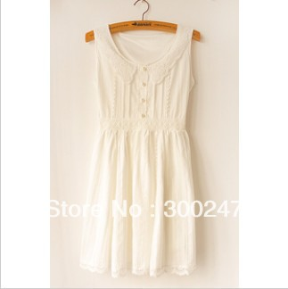 2013 High quality Women's Japan Sweet cotton Lace dress white Sleeveless dress Free shiping B71