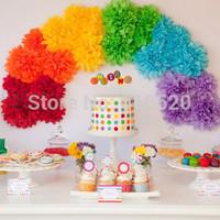 "Free Shipping 30pcs 10""/25cm Tissue Pom Poms Paper Flower Ball Nursery Wedding Birthday Party Baby Shower Decorations"