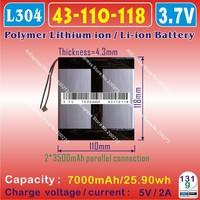 [L304] 3.7V,7000mAH,[43110118] PLIB (polymer lithium ion battery) Li-ion battery  for tablet pc,onda,cube,ainol,vido,ployer,ampe