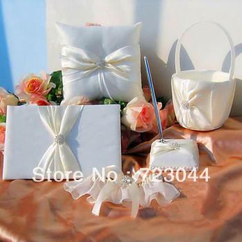 Wholesale wedding accessories/Wedding Set/ring pillow / Guest Book / Pen Set / Flower girl basket /Garter   Free shipping