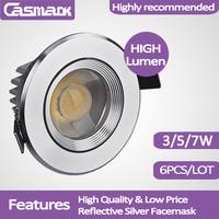 Free shipping (6pcs/lot)  85-265vac led light COB3W 5w 7W recessed led ceiling spotlight led lamp led spot wall light
