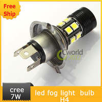 Free Ship H4 LED Car Turn Signal Parking Light 12+1 7W 12 SMD 5050 Cree XP-E SMD LED Fog Driving Lamp High Low Beam Bulb