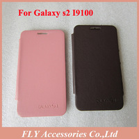 10pcs/lot Free ship For Samsung Galaxy S2 i9100 back cover flip leather case battery housing case+retail box