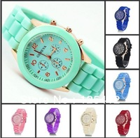 200pcs/lot Hot sales!!! Three circles Display Strap Candy Color popular shadow Geneva Watch free shipping
