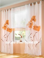 Deals-German handmade inkjet colorful flowers sheers  window curtains  Good Quality Free shipping  2pcs/lot