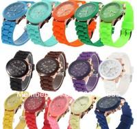 Promotion!!! 100pcs Silicone Quartz Men/Women/Girl Unisex Jelly Geneva shadow Popular Wrist Watch for Xmas Gift! 14 colors