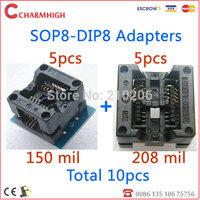 Free shipping ! 10pcs: sop8 to dip8 adapter : 5pcs 150mils+5pcs 200-208mils, high qualiy!