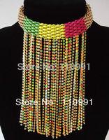 New Arrival Unique Design Fashion Choker Multicolor Fuxia Green Bib Long Statement Tassel Necklace For Women