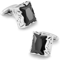 Black Man-made Agate+ Platinum Plated cufflinks men's Cuff Links + Free Shipping !!! gift metal buttons
