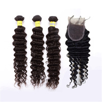 "1pcs free Lace Top Closure 4""x4"" with 3pcs Brazilian virgin deep wave hair weave bundles,4pcs/lot natural color free shipping"