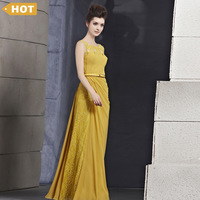 Free Shipping! Coniefox Evening Yellow Sleeveless With Beading/Lace Big Event Party Gown 30095