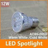 4 pcs/lot 85-265V 12W E27 Warm White / cold White LED Lamp Bulb Spotlight LED Spot light Free Shipping