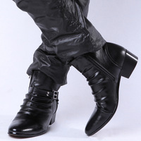 2013 new  fashion pointed toe men's geunine leather high increasing  boots free shipping