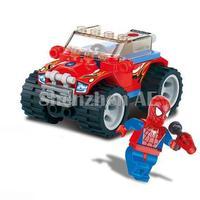 Free Shipping Kazi Spider Man Red Police Car Building Block Sets 47+pcs Legoland Educational DIY Bricks Toys For Children