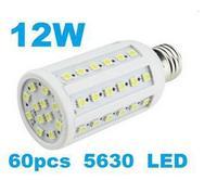 (50pcs/lot) 12W E27 LED Corn Bulb Light 60 SMD 5630 LED Corn Lamp AC 110V / 220V Warm white Cool white