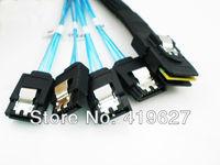 Free Shipping Mini SAS 36P SFF 8087 to 4 SATA Hard Disk Data Cable 0.5M