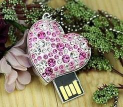 Hot sales 10pcs/lot metal crystal heart necklace usb flash drives