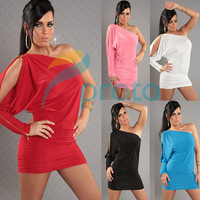 6 Colors Freeshipping 2013 New Fashion Women One Shoulder Long Open Sleeve Clubwear Party Mini Dress Sexy Lingerie 8554
