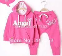 HOT! Spring / autumn Kids Girls & Boys Clothing Sets, Angels Children's Sweater Set, Pink / Yellow / Green,1set