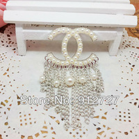 Wholesale!6pcs/lot Full  Pearl 2C Logo Tassle 2colors Phone Case  DIY Accessories For Mobile Cell Phone Jewelry Free shipping