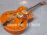 Jazz Electric Guitar with Vibrato(Bigsby), Gretsch Guitar, Hollow body guitar, Amber Colour