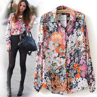 New Collection 2014 Spring Summer Vintage Floral Print Shirt Women Long Sleeve Fashion Chiffon Blouses Shirts Blusas Femininas