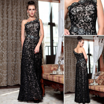 DORISQUEEN Free Shipping dropshipping In Stock  Black Lace crystal One Shoulder Rhinestone Evening Dress Long  2014