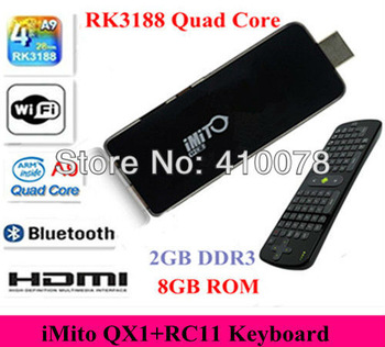 RK3188 Android 4.2 Mini PC iMito QX1 Quad Core 2GB Ram TV Box IPTV HDMI Stick Dongle 8GB Bluetooth RC11 Fly Air Mouse Control